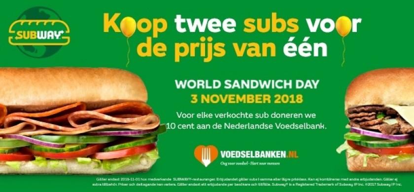 World Sandwich Day bij Subway: 1 + 1 gratis!