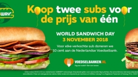 World Sandwich Day bij Subway: 1 + 1 gratis!